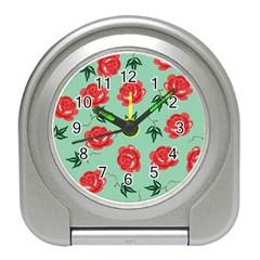 Red Floral Roses Pattern Wallpaper Background Seamless Illustration Travel Alarm Clocks