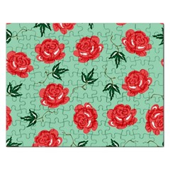 Red Floral Roses Pattern Wallpaper Background Seamless Illustration Rectangular Jigsaw Puzzl