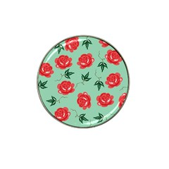 Red Floral Roses Pattern Wallpaper Background Seamless Illustration Hat Clip Ball Marker (10 pack)