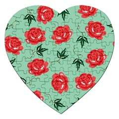Red Floral Roses Pattern Wallpaper Background Seamless Illustration Jigsaw Puzzle (heart)