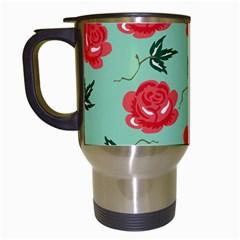 Red Floral Roses Pattern Wallpaper Background Seamless Illustration Travel Mugs (white)