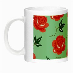 Red Floral Roses Pattern Wallpaper Background Seamless Illustration Night Luminous Mugs