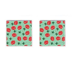 Red Floral Roses Pattern Wallpaper Background Seamless Illustration Cufflinks (Square)
