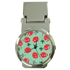 Red Floral Roses Pattern Wallpaper Background Seamless Illustration Money Clip Watches