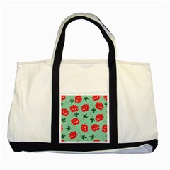 Red Floral Roses Pattern Wallpaper Background Seamless Illustration Two Tone Tote Bag