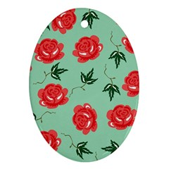Red Floral Roses Pattern Wallpaper Background Seamless Illustration Oval Ornament (two Sides)