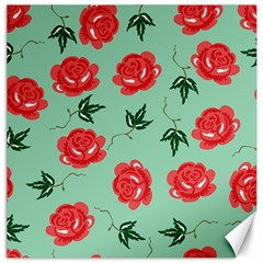 Red Floral Roses Pattern Wallpaper Background Seamless Illustration Canvas 12  x 12