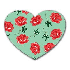 Red Floral Roses Pattern Wallpaper Background Seamless Illustration Heart Mousepads