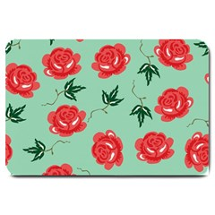 Red Floral Roses Pattern Wallpaper Background Seamless Illustration Large Doormat