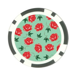 Red Floral Roses Pattern Wallpaper Background Seamless Illustration Poker Chip Card Guard