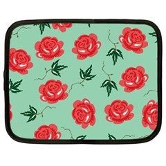Red Floral Roses Pattern Wallpaper Background Seamless Illustration Netbook Case (large)