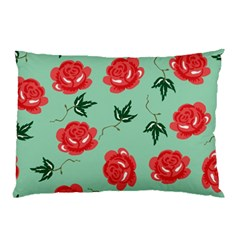 Red Floral Roses Pattern Wallpaper Background Seamless Illustration Pillow Case