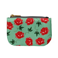 Red Floral Roses Pattern Wallpaper Background Seamless Illustration Mini Coin Purses