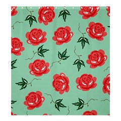 Red Floral Roses Pattern Wallpaper Background Seamless Illustration Shower Curtain 66  x 72  (Large)