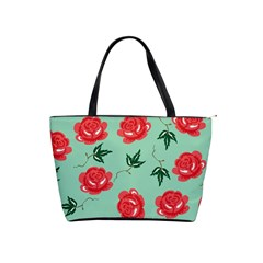 Red Floral Roses Pattern Wallpaper Background Seamless Illustration Shoulder Handbags