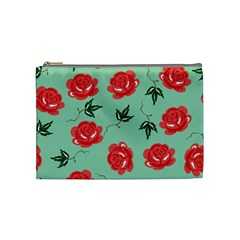 Red Floral Roses Pattern Wallpaper Background Seamless Illustration Cosmetic Bag (Medium)