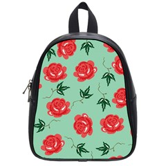Red Floral Roses Pattern Wallpaper Background Seamless Illustration School Bags (Small)
