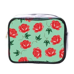 Red Floral Roses Pattern Wallpaper Background Seamless Illustration Mini Toiletries Bags
