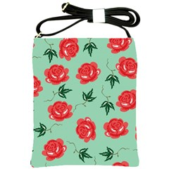 Red Floral Roses Pattern Wallpaper Background Seamless Illustration Shoulder Sling Bags