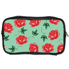 Red Floral Roses Pattern Wallpaper Background Seamless Illustration Toiletries Bags 2-Side