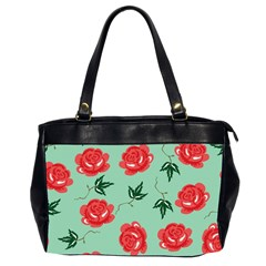 Red Floral Roses Pattern Wallpaper Background Seamless Illustration Office Handbags (2 Sides)