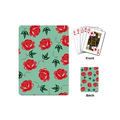 Red Floral Roses Pattern Wallpaper Background Seamless Illustration Playing Cards (mini)
