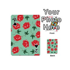 Red Floral Roses Pattern Wallpaper Background Seamless Illustration Playing Cards 54 (mini)
