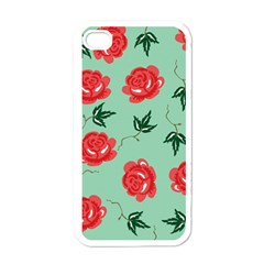 Red Floral Roses Pattern Wallpaper Background Seamless Illustration Apple iPhone 4 Case (White)