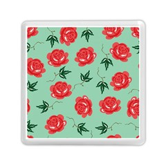 Red Floral Roses Pattern Wallpaper Background Seamless Illustration Memory Card Reader (Square)
