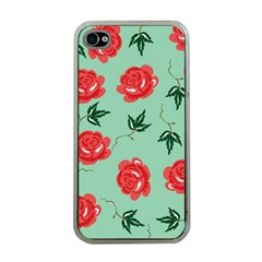 Red Floral Roses Pattern Wallpaper Background Seamless Illustration Apple iPhone 4 Case (Clear)