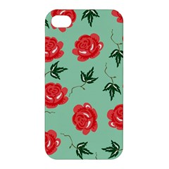 Red Floral Roses Pattern Wallpaper Background Seamless Illustration Apple iPhone 4/4S Hardshell Case