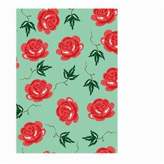 Red Floral Roses Pattern Wallpaper Background Seamless Illustration Large Garden Flag (Two Sides)