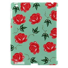 Red Floral Roses Pattern Wallpaper Background Seamless Illustration Apple Ipad 3/4 Hardshell Case (compatible With Smart Cover)