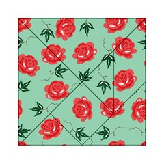 Red Floral Roses Pattern Wallpaper Background Seamless Illustration Acrylic Tangram Puzzle (6  x 6 )