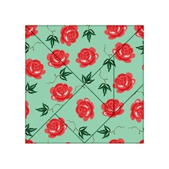 Red Floral Roses Pattern Wallpaper Background Seamless Illustration Acrylic Tangram Puzzle (4  x 4 )