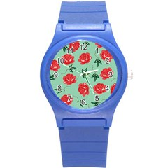 Red Floral Roses Pattern Wallpaper Background Seamless Illustration Round Plastic Sport Watch (s)