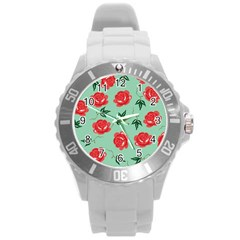 Red Floral Roses Pattern Wallpaper Background Seamless Illustration Round Plastic Sport Watch (L)