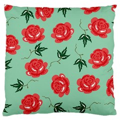 Red Floral Roses Pattern Wallpaper Background Seamless Illustration Large Cushion Case (two Sides)