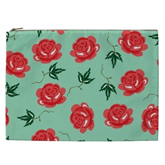 Red Floral Roses Pattern Wallpaper Background Seamless Illustration Cosmetic Bag (XXL)