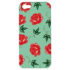 Red Floral Roses Pattern Wallpaper Background Seamless Illustration Apple Iphone 5 Hardshell Case