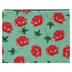 Red Floral Roses Pattern Wallpaper Background Seamless Illustration Cosmetic Bag (xxxl)