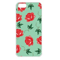 Red Floral Roses Pattern Wallpaper Background Seamless Illustration Apple iPhone 5 Seamless Case (White)