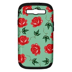 Red Floral Roses Pattern Wallpaper Background Seamless Illustration Samsung Galaxy S III Hardshell Case (PC+Silicone)