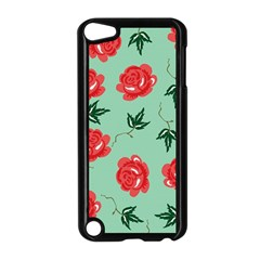 Red Floral Roses Pattern Wallpaper Background Seamless Illustration Apple iPod Touch 5 Case (Black)