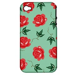 Red Floral Roses Pattern Wallpaper Background Seamless Illustration Apple Iphone 4/4s Hardshell Case (pc+silicone)