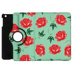 Red Floral Roses Pattern Wallpaper Background Seamless Illustration Apple Ipad Mini Flip 360 Case