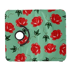 Red Floral Roses Pattern Wallpaper Background Seamless Illustration Galaxy S3 (Flip/Folio)