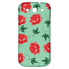 Red Floral Roses Pattern Wallpaper Background Seamless Illustration Samsung Galaxy S3 S III Classic Hardshell Back Case