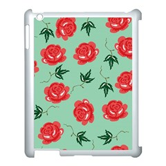 Red Floral Roses Pattern Wallpaper Background Seamless Illustration Apple iPad 3/4 Case (White)