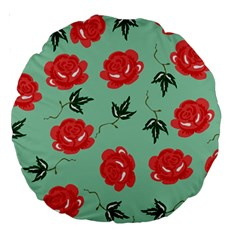 Red Floral Roses Pattern Wallpaper Background Seamless Illustration Large 18  Premium Round Cushions